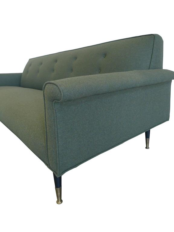 Mid Century Modern 1960s Reupholstered Green Wool Sofa In The Style Of  Edward Wormley For
