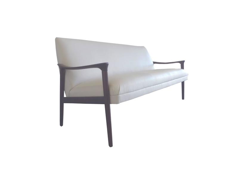 Scandinavian Modern Mid-20th Century White Danish Sofa by Ole Wanscher For Sale