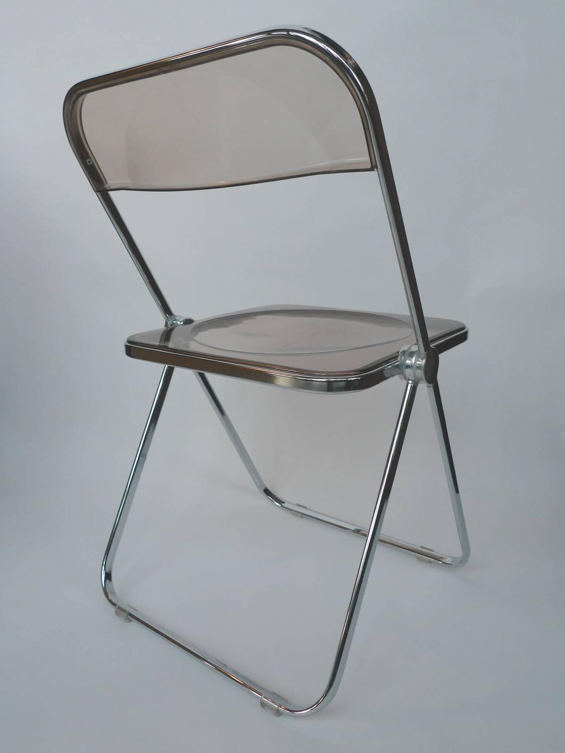 1960s Plia Lucite And Chrome Folding Chairs By Giancarlo Piretti   A Set Of  6 At 1stdibs