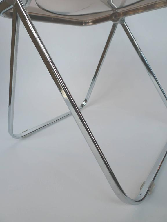 1960s Plia Lucite and Chrome Folding Chairs by Giancarlo Piretti a Set of 6