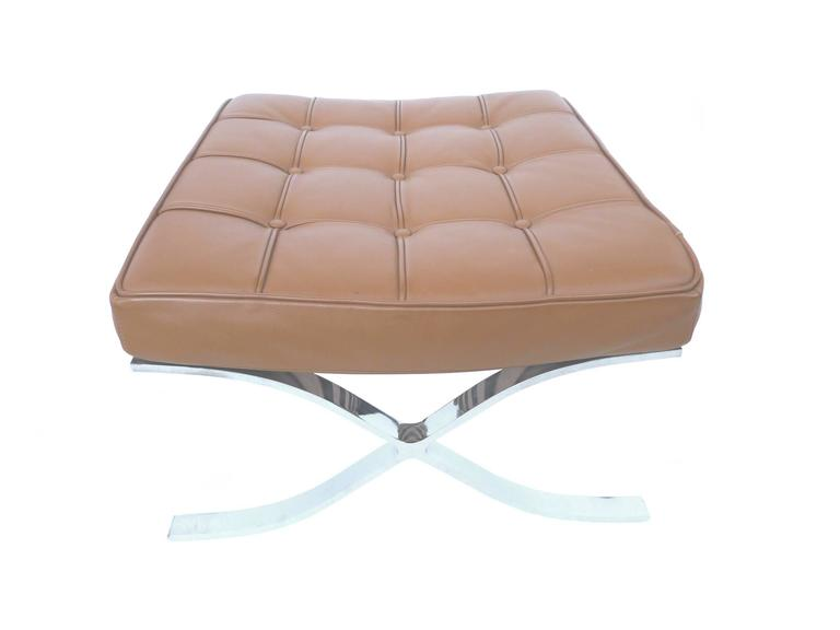 Pair Of 1970s Barcelona Style Leather Ottomans For Sale At
