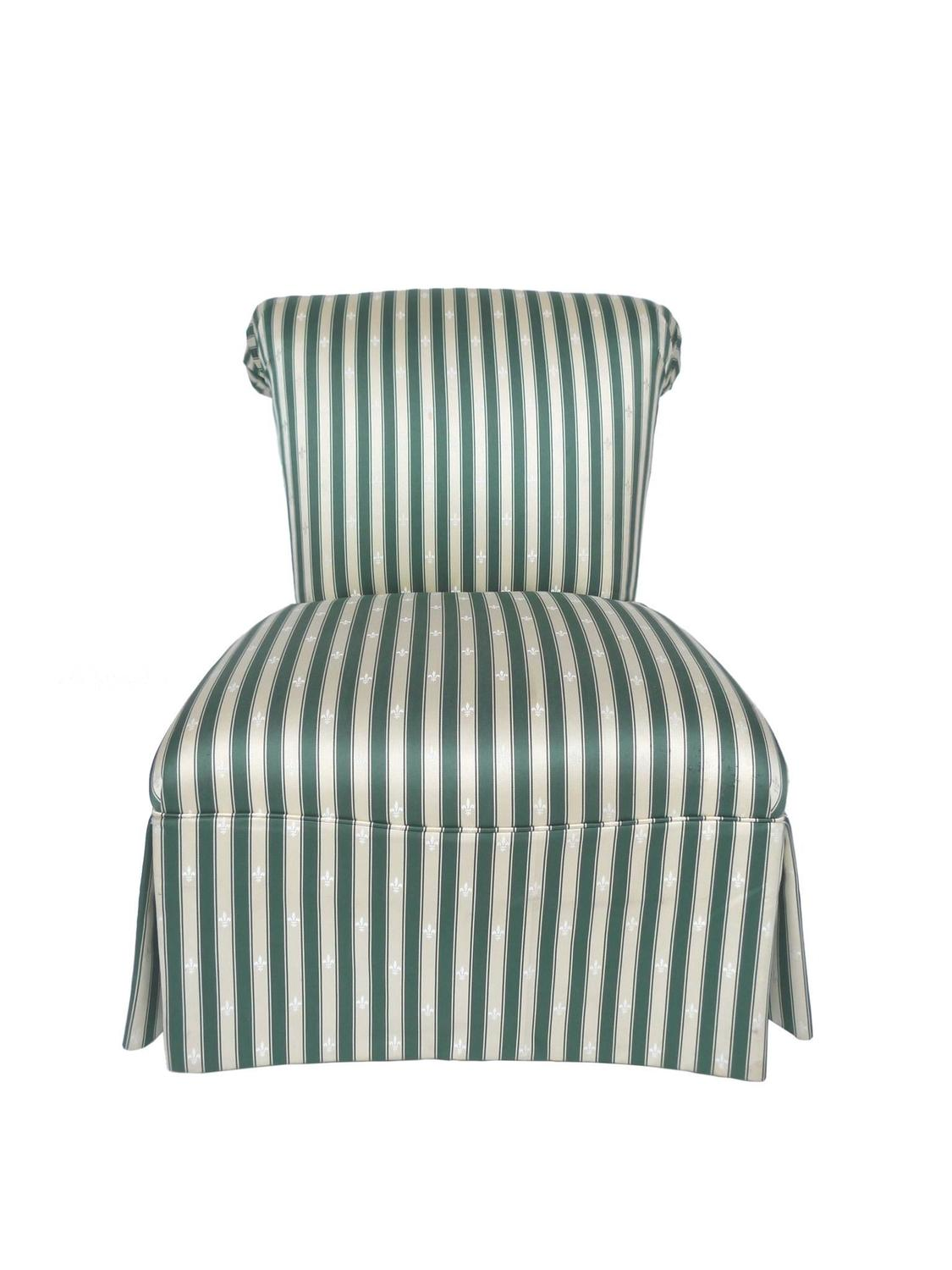 Pair Of Henredon Striped Silk Slipper Chairs At 1stdibs