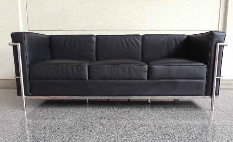 Steel Black Leather Sofa in the Style of Le Corbusier For Sale