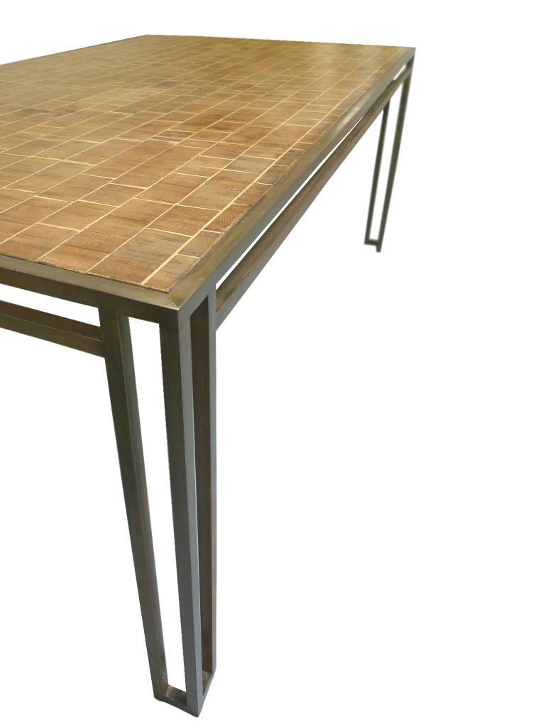American Billy Baldwin 1970s Iron and Wood Dining Table For Sale
