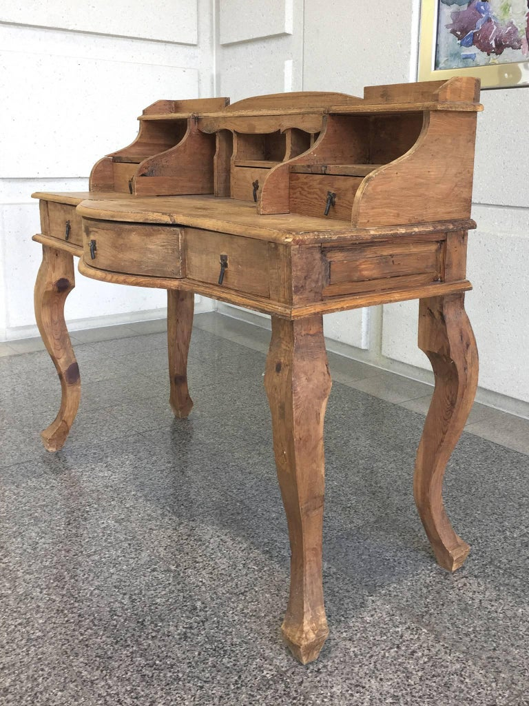 This 20th Century French Country Desk Is Carved From Pine Wood Its Design Striking