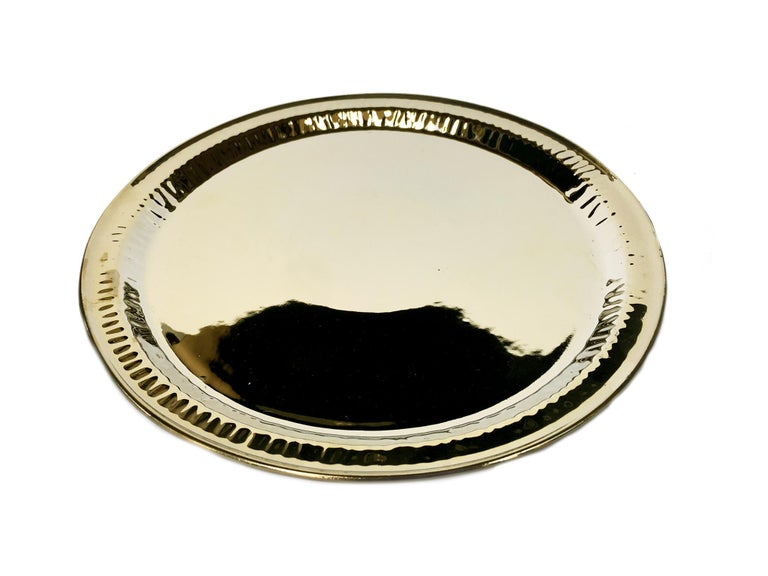 Hollywood Regency Seletti Gold Porcelain Plates Estetico Quotidiano Collection, a Set of 8 For Sale