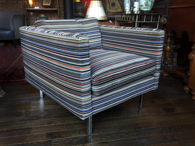 Pair Of 48s Milo Baughman Club Chairs In Paul Smith Fabric For Stunning Paul Rich Furniture Minimalist