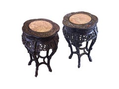 Late 19th Century Chinese Marble-Topped Jardinière Side Tables, a Pair