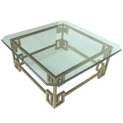 1970s Hollywood Regency Brass and Glass Cocktail Table Mastercraft Attributed