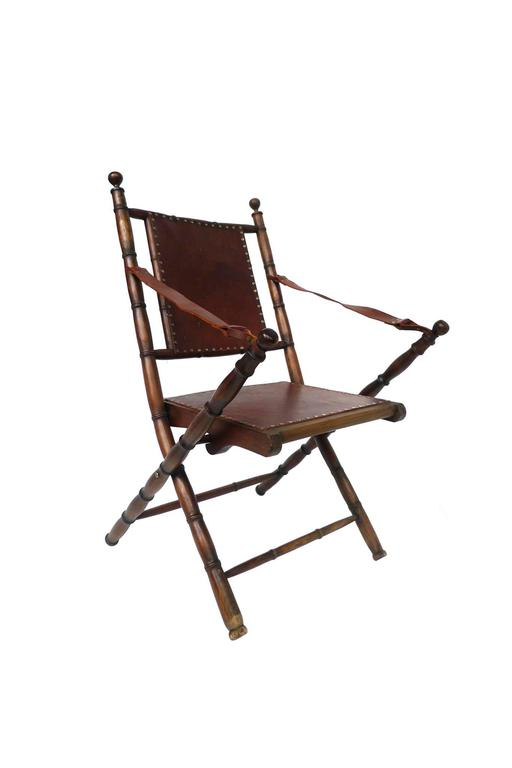 This Handsome Pair Of Folding Chairs Consists Of Oak Wood Frame And Legs  And Leather Seats