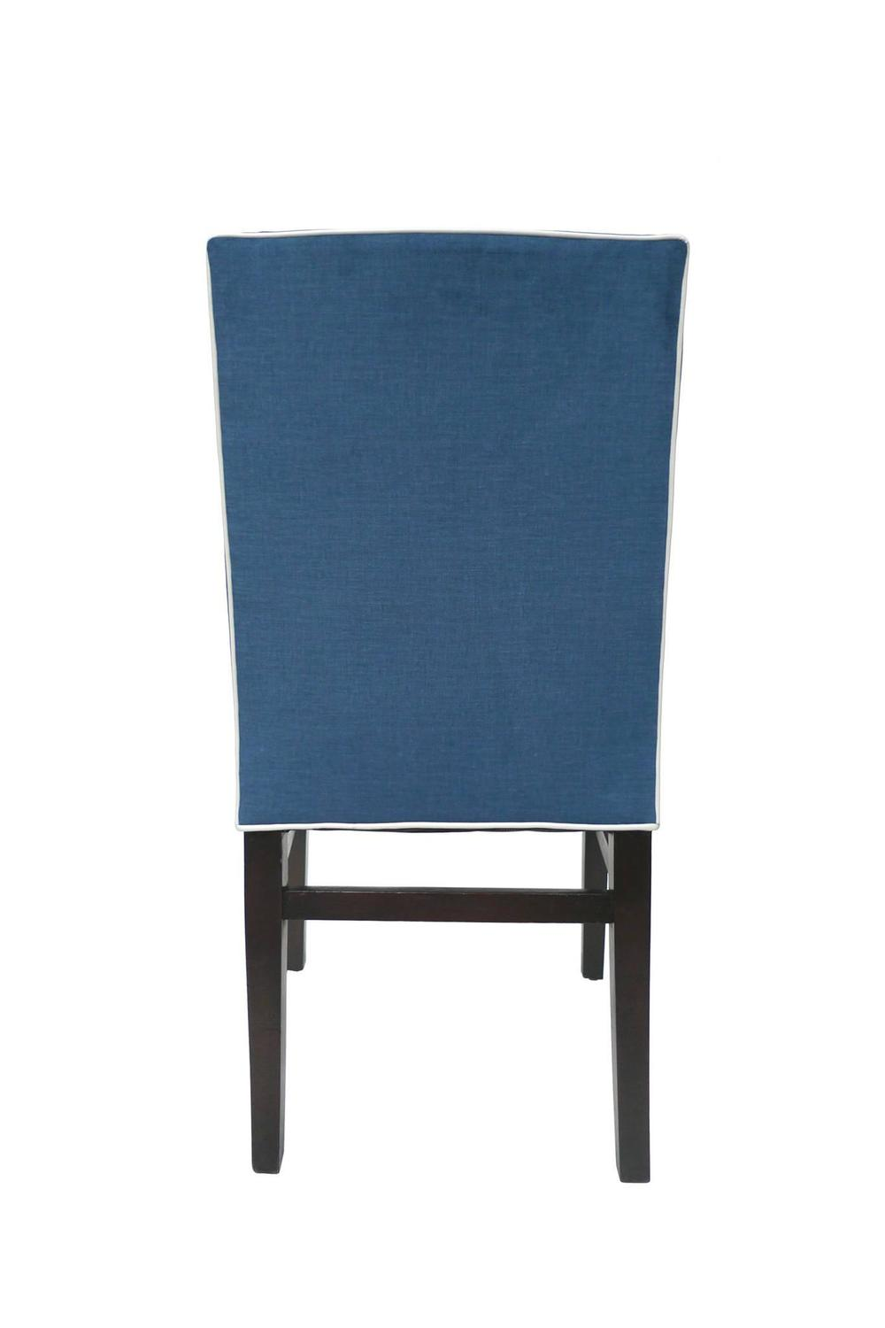 Set of Four Indigo Silk Velvet Dining Chairs Attributed to