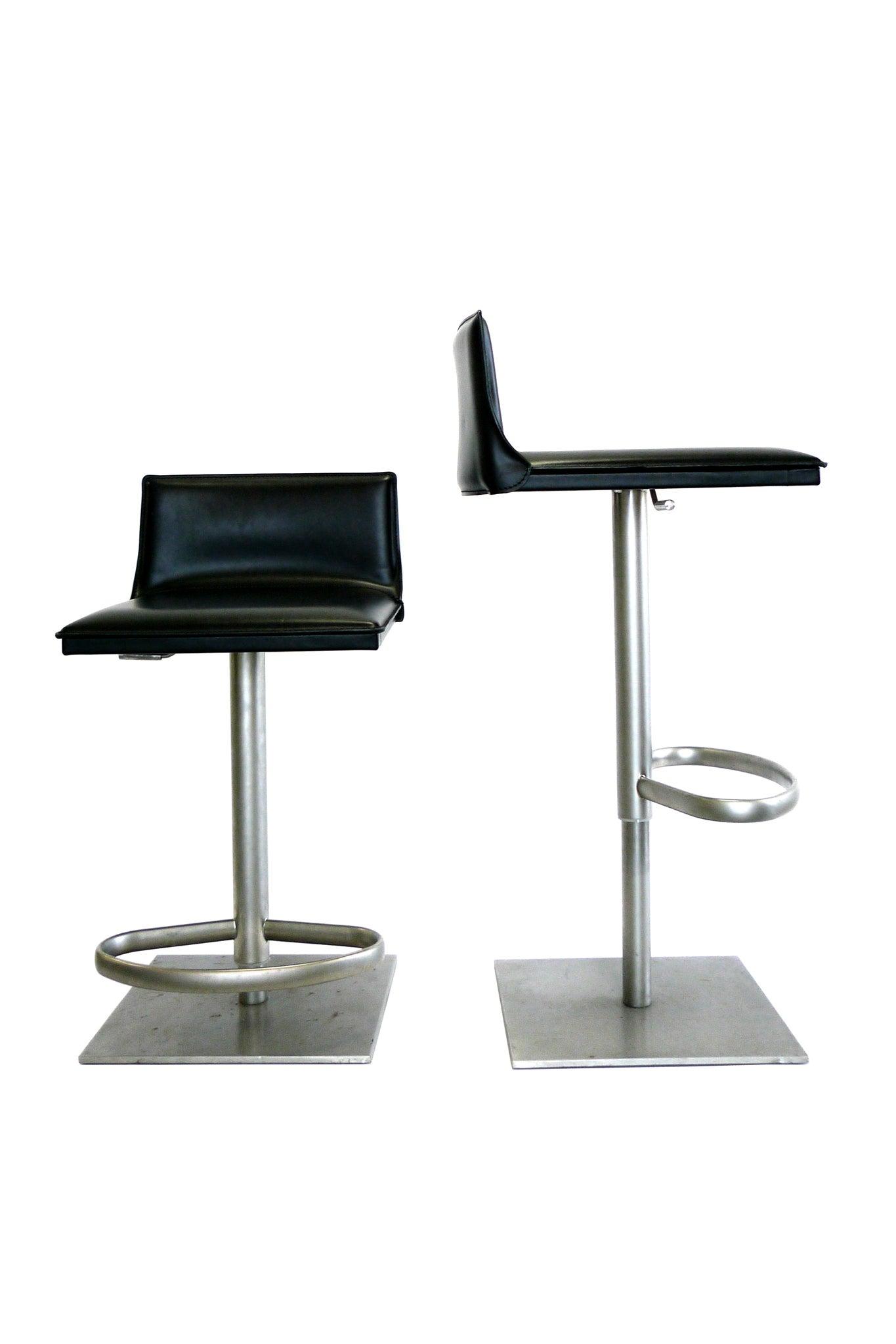 Astounding Italian Leather And Steel Height Adjustable Bar Stool By Camellatalisay Diy Chair Ideas Camellatalisaycom