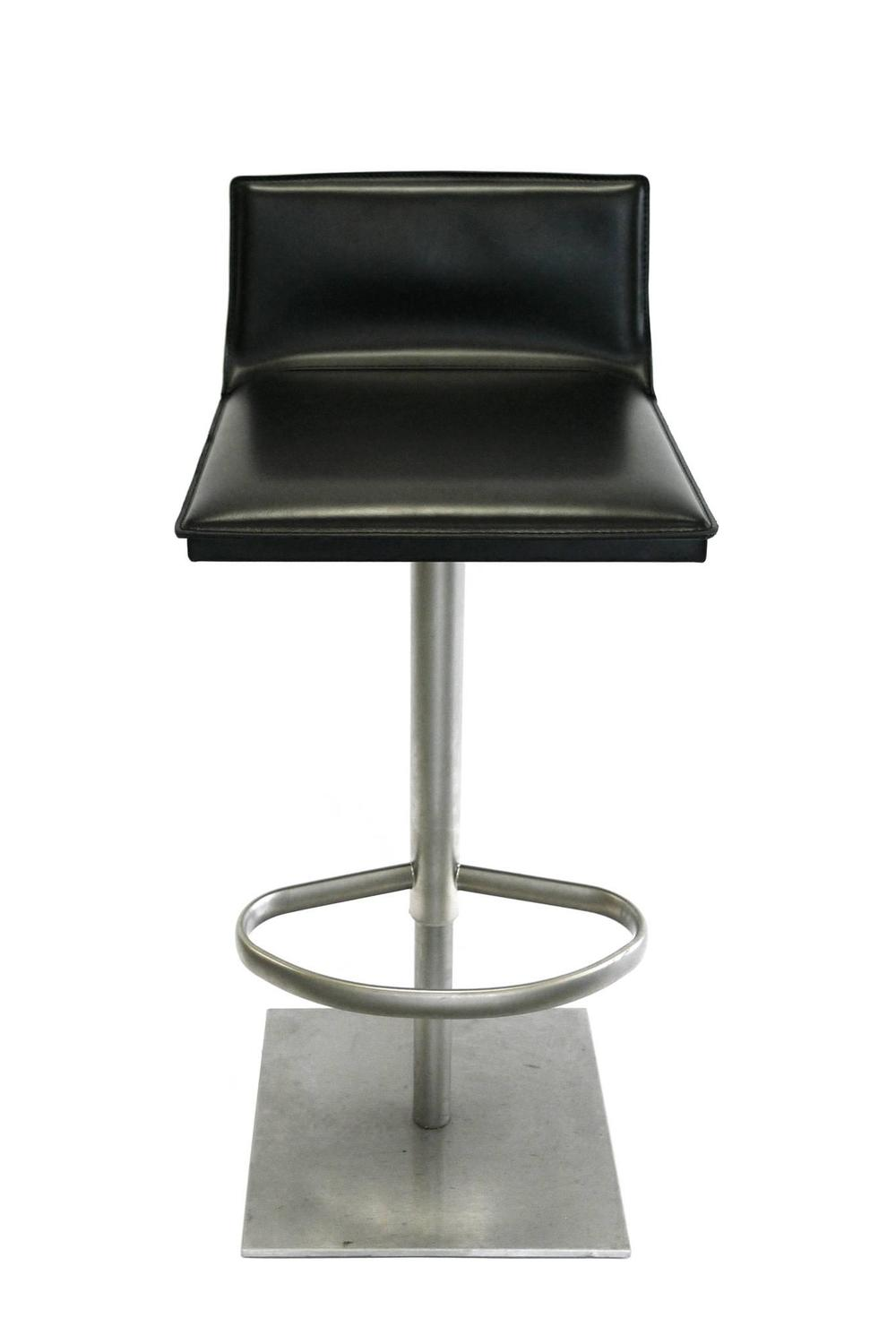 Italian Leather And Steel Height Adjustable Bar Stool By