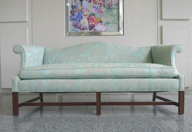 20th Century Chinese Chippendale Style Camelback Sofa For