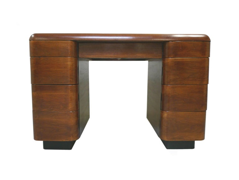 American Paul Goldman 1940s Art Deco Rosewood Veneer Desk For Sale