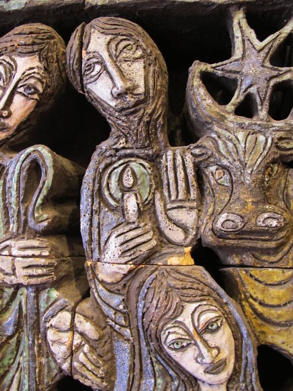 "20th Century Ceramic Sculpture ""Nativite"" by the Artist Bernard Marliengas For Sale"
