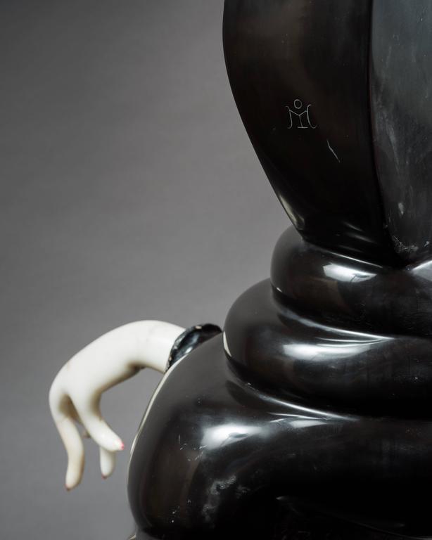 Belgian Black Marble Unique Marble Sculpture