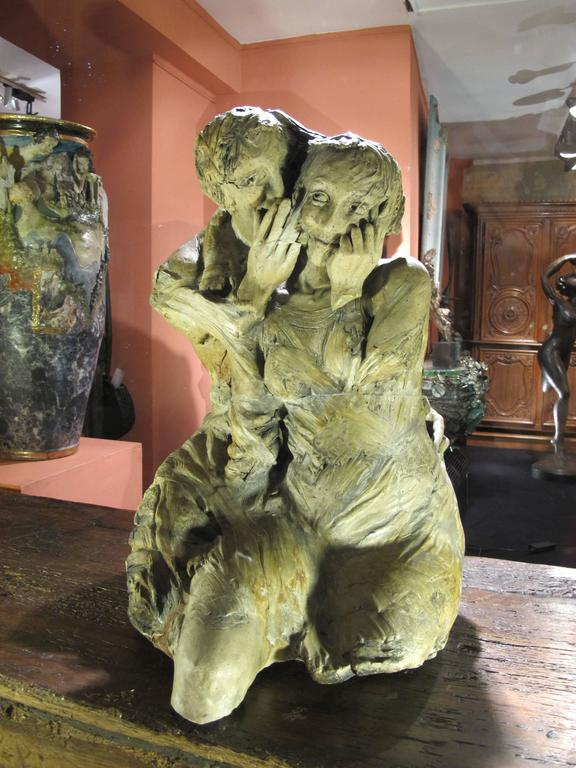 French Unique Stoneware Sculpture by France Siptrott For Sale