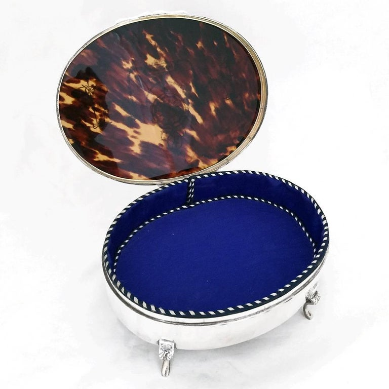 English Art Nouveau Inlaid Tortoise Shell and Silver Jewelry Box For Sale