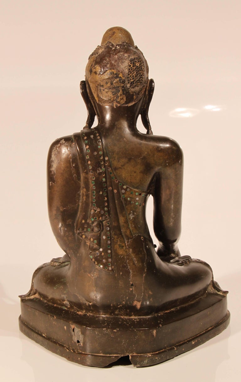 19th Century Thai Inlaid Bronze Buddha For Sale 1