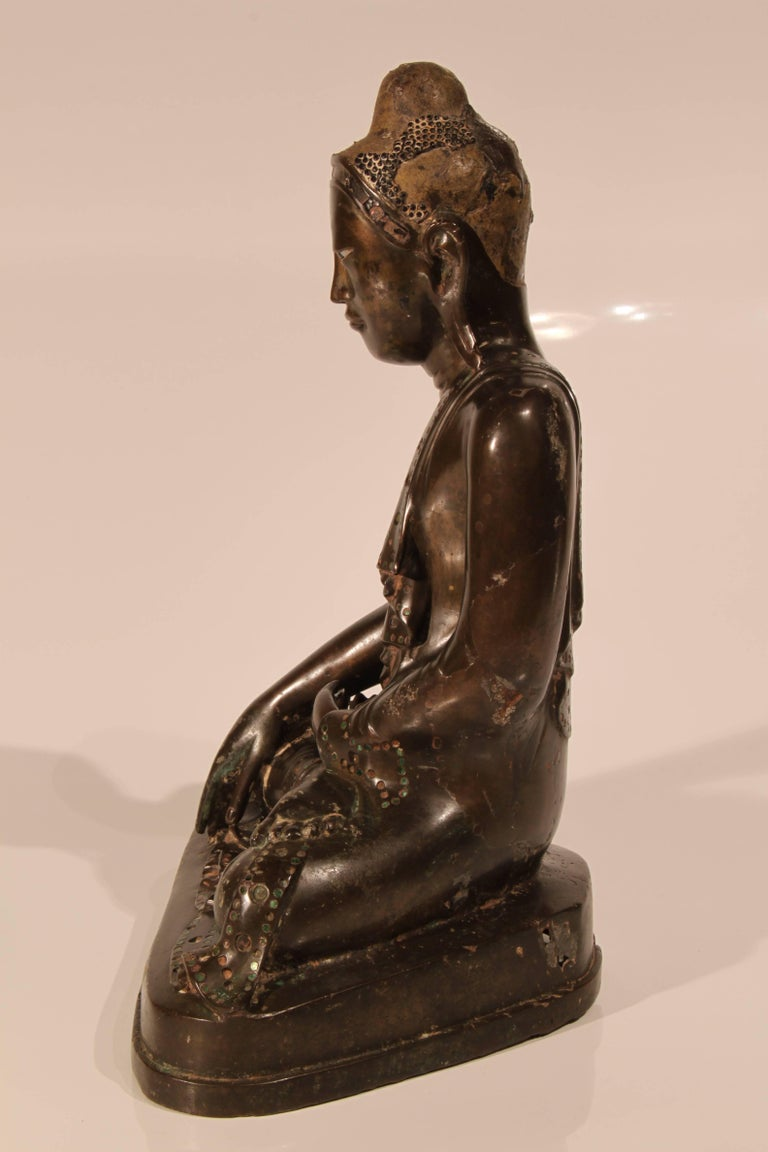 19th Century Thai Inlaid Bronze Buddha For Sale 3