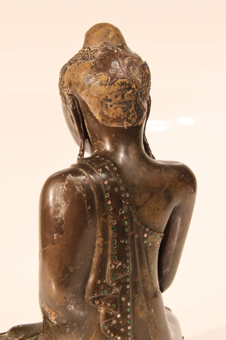 19th Century Thai Inlaid Bronze Buddha In Good Condition For Sale In Mosman Park, AU