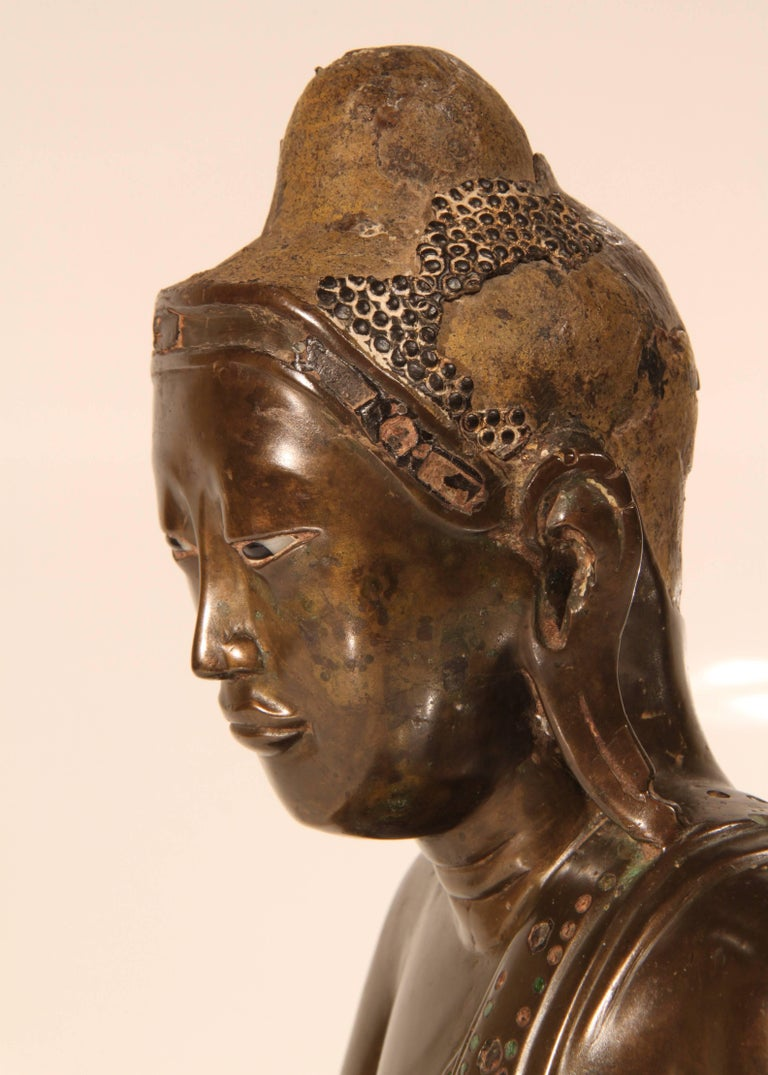 19th Century Thai Inlaid Bronze Buddha For Sale 4