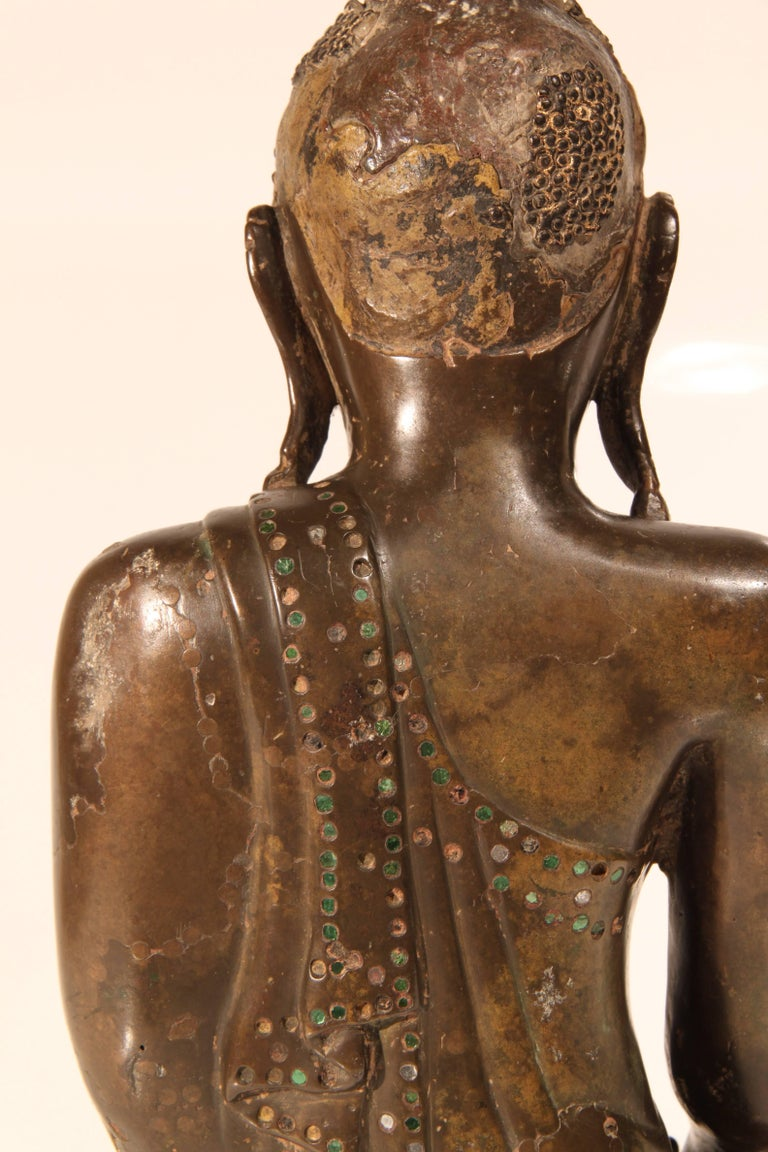 19th Century Thai Inlaid Bronze Buddha For Sale 2
