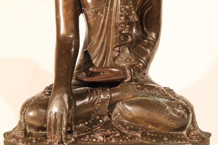 Cast 19th Century Thai Inlaid Bronze Buddha For Sale