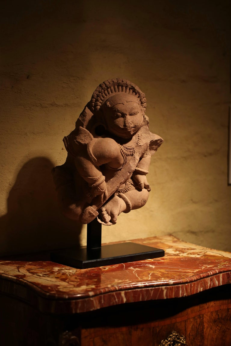 Indian Pair of 12th Century Rajasthan Red Sandstone Figures For Sale