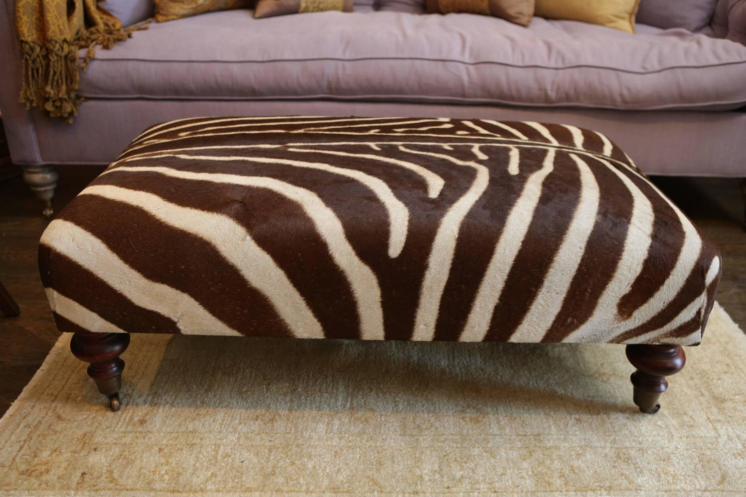 Zebra Hide Ottoman On Mahogany Frame For Sale At 1stdibs