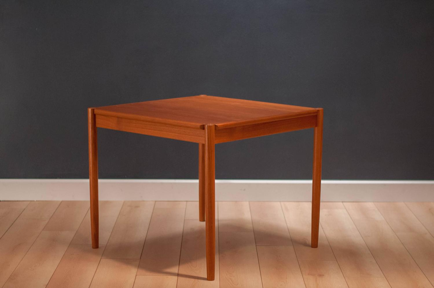 Vintage Danish Teak And Leather Flip Top Dining Table For