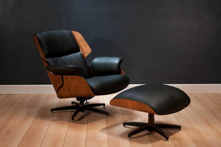 Drexel Declaration Leather Lounge Chair and Ottoman 1
