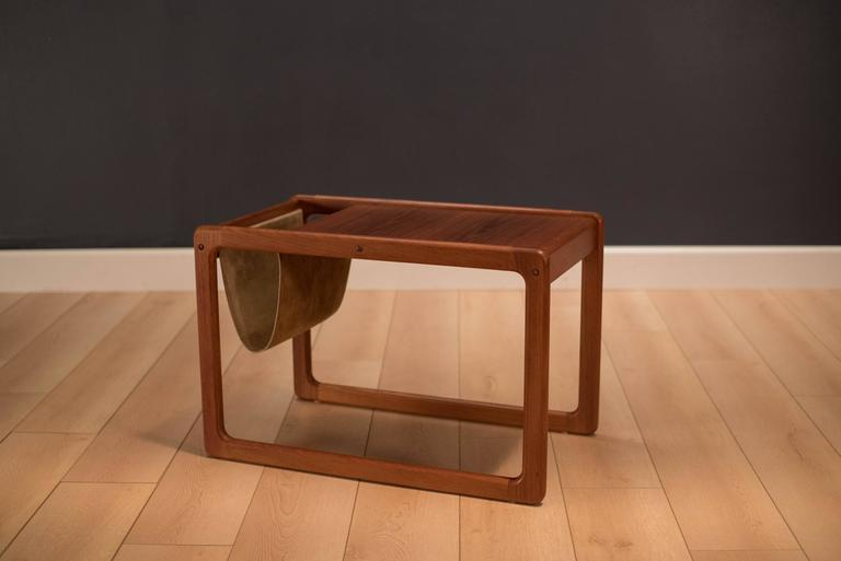 Vintage Danish Leather Magazine Rack Side Table At 1stdibs