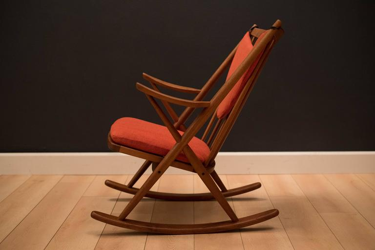 Scandinavian Modern Vintage Danish Bramin Teak Rocking Chair For Sale