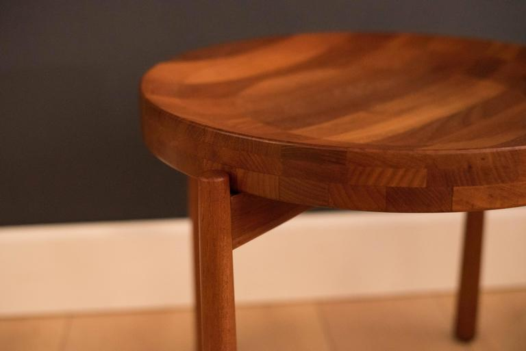 Mid-20th Century Vintage Pair of Staved Teak DUX End Tables For Sale