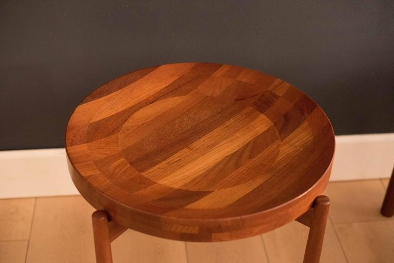 Vintage Pair of Staved Teak DUX End Tables In Good Condition For Sale In San Jose, CA