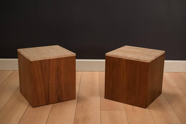Mid Century Walnut Cube End Tables With Travertine Tops. Price Is For The  Pair