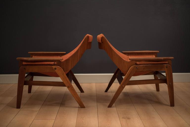 Mid Century Jerry Johnson Walnut Sling Chairs At 1stdibs
