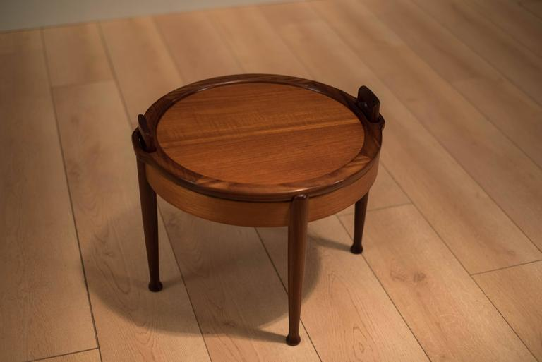 Vintage Scandinavian Teak Reversible Tabletop Stool At 1stdibs