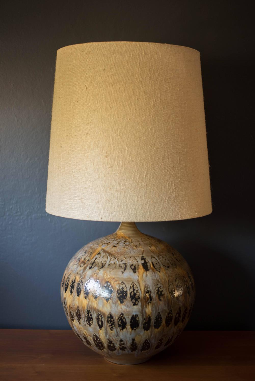 Mid Century Ceramic Pottery Glazed Lamp At 1stdibs
