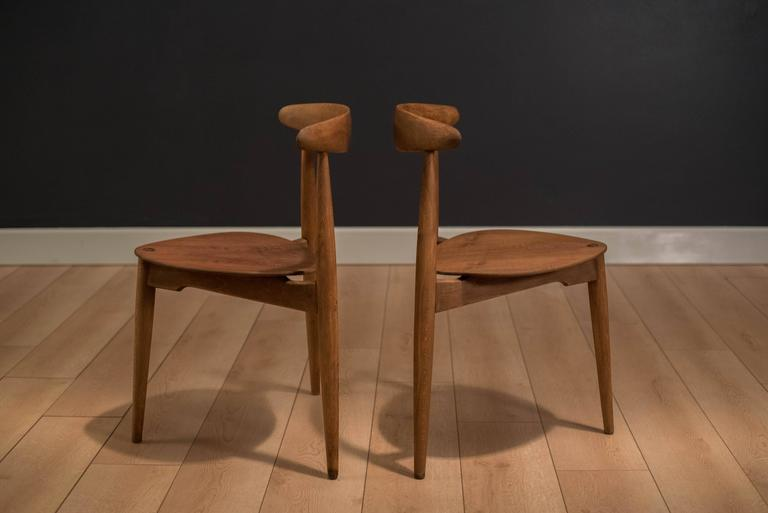 Mid Century Heart Chairs Designed By Hans J. Wegner For Fritz Hansen Model  FH
