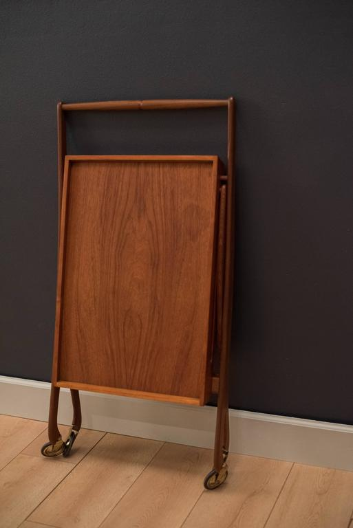 Vintage Danish Teak Folding Bar Cart For Sale 3