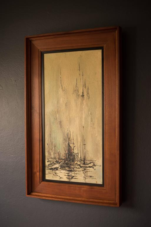 Mid-century nautical abstract painting by artist Danny Garcia, circa 1966. This is an original acrylic on canvas with walnut frame. Garcia was born and raised in Monterey, California and shows his influence of the area in many of his paintings.