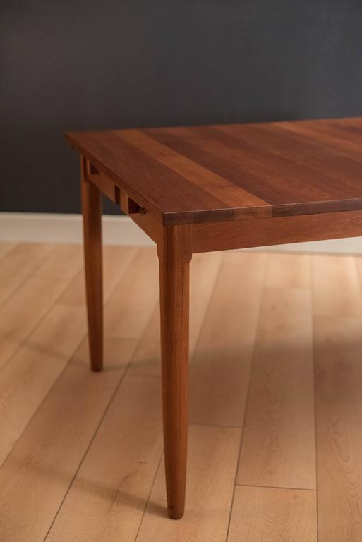 Solid Teak Expandable Drop Leaf Danish Dining Table At 1stdibs