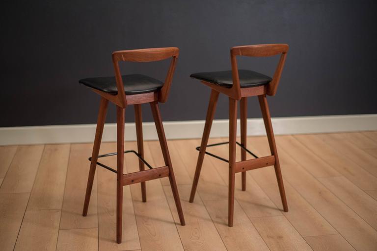 Scandinavian Modern Pair of Danish Teak Barstools by Henry Rosengren For Sale