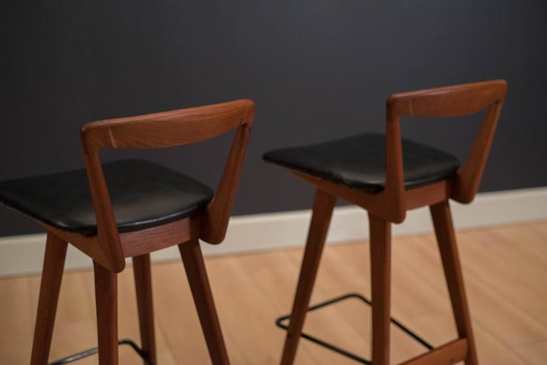 Pair of Danish Teak Barstools by Henry Rosengren In Good Condition For Sale In San Jose, CA