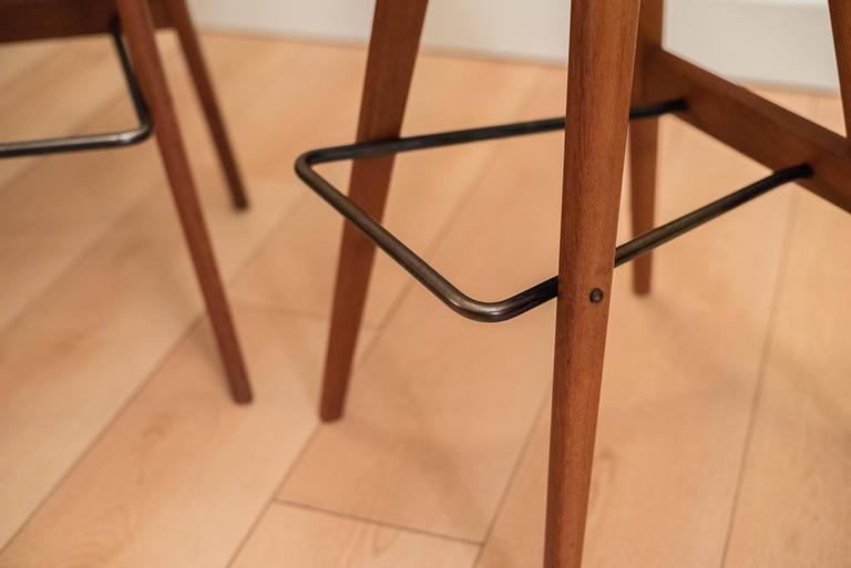 Pair of Danish Teak Barstools by Henry Rosengren For Sale 1