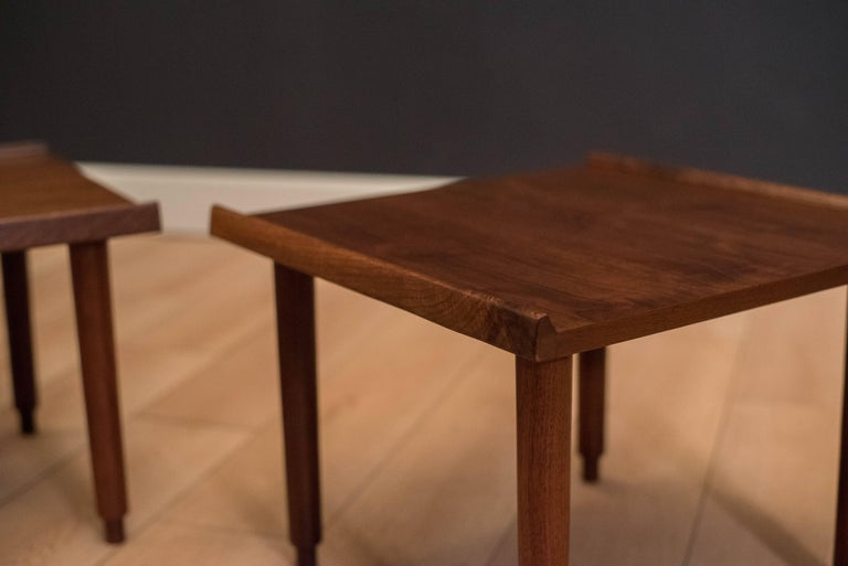 American Mid Century Walnut Side Tables by Charles Pechanec