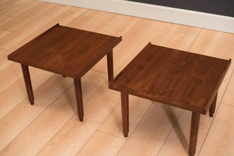 Mid-20th Century Mid Century Walnut Side Tables by Charles Pechanec